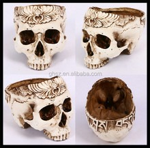 Custom new style holloween party decoration resin hollow skull crafts