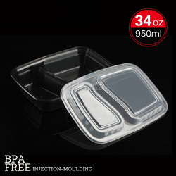 black food container with clear lid, pp lunch box, Disposable lunch container