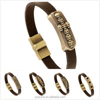 0.8*21cm thick coffee leather bracelet for men power bracelets cuff bands bronze charm the ROCK style head wing design