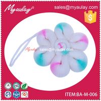 2015 Best quality unique wholesale baby bathroom flower sponge shower puff toy for walmart audit BA-M-006