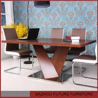 MDF modern extendable dining room wooden furniture