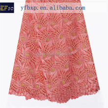2015 Hot sale coral high quality african guipure chemical lace fabrics for summer dresses