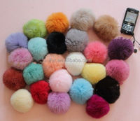 Magical Cute Style Big Different Colors Rabbit Fur Ball/Pompom Phone Keyring/Key Chain