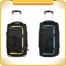 2015 Latest convenient carry on travel bag foldable duffle trolley bag built in wheel luggage bag