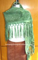 Laides fashion soft suede leather shawls with beadings