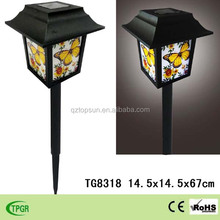 Cheap Chinese lanterns PVC butterfly with plastic solar stake for sale garden decoration