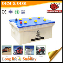 Dry charged 12v90ah car battery for dump truck