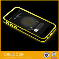 ROCK Colorful Calls Flash Light Plastic Bumper Cases for iPhone 4 with yellow