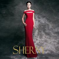 Latest dress designs Popular chiffon women dress backless red sexy mermaid Evening Dress 2015