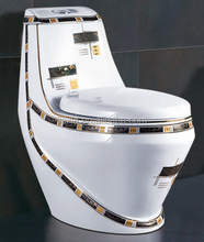 Modern decorated black soft closing cover one piece toilet