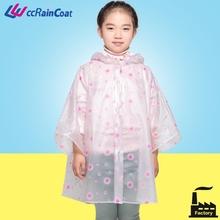 Children rubber transparent plastic rainwear