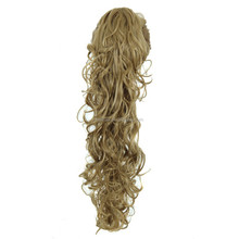 Blonde Mix Extral Long Curly Wave Claw Clip Ponytail Hair Extensions Synthetic Ponytails for Female