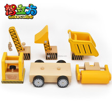 2015 hot product DIY learning toys yellow color construction vehiclesset 5 pcs diy kids toy wooden toys truck confirm to EN71