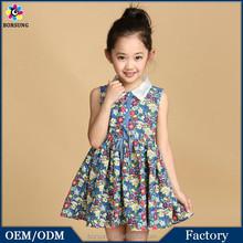 OEM Factory 2015 Stylish Summer Cute Floral Ruffle Girls Dress Printed Knee Lenght Blue Princess Flower Girl Dress