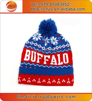 Hot sell custom acrylic knit beanie with top ball/knit ski beanie hat/blue red white beanie caps