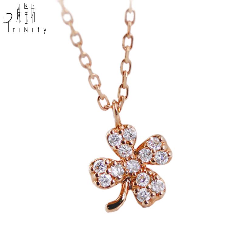 Barber Gifts Schmuck 18K Solid Rose Gold Kette Diamant vier Blatt Diamant Glück Kette