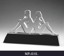 brand logo shape customized glass crystal trophy