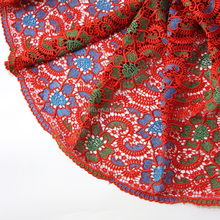 51 52 inch yifangbo zhejiang fantasy textile latest cupion lace red multi color spandex lace fabric for christmas party