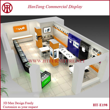 2015 SUMMER cell phone showcase & phone accessory kiosk & mobile phone shop decoration for 2015 west field