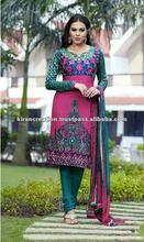 Pink & Green salwar kameez Material