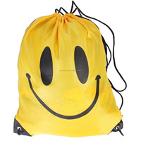 2015 Fashion Smiling Drawstring Bags Unisex Women Men Camping String Nylon Backpack Ruckpack Travel Gym Sport Bag 3 Colors