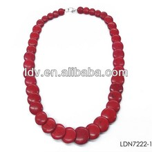 Latest design beads necklace red color stone necklace red round stone beaded necklace