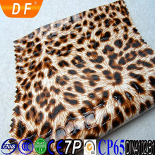 2015 elastic smooth Hot sale mirror surface leopard pattern synthetic pu leather for shoes bags handbags
