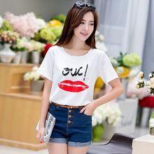 Factory direct summer new printing fashion wild chiffon T-shirt female students Gilrl Apparel T-Shirts