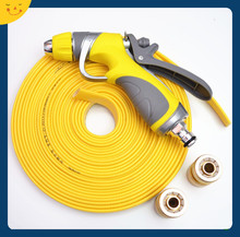Yellow PVC lay flat hose for car washing, gardening
