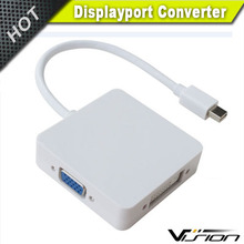 3 In1 Thunderbolt Mini DP Display Port To VGA HDMI DVI Adapter Cable For Mac