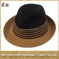 Newly quality shape custom paper vase boater stripe wholesale fashion straw hat