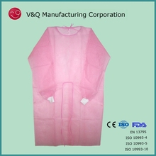 pink disposable with ties protective isolation gown