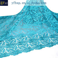 Fashion 100% polyester material teal indian embroidery lace/ nigerian cord lace/ london lace fabric for european wedding dress