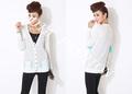 De tejido fino de la primavera y el otoño de moda para mujer v- cuello suéter con dos bolsillos grandes