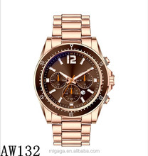 Rose gold and gold plated alloy case stainless steel chain wrist watch