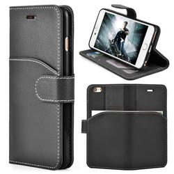 2015 new leather Wallet case for iphone 6 plus 5.5 black/brown