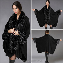 SFW1510027 New Arrival Autumn And Winter High-End Luxury Black Fake Fur Woolen Coats Jacket For Women
