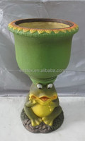 knock-down outdoor garden fiber glass clay frog flower planter pots