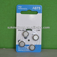 1.4v A675 button battery of deaf-aid