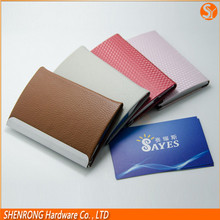Highest performance and inexpensive leather business cardholder with metal plate