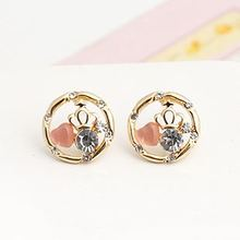 E8202 Korea Jewelry pink heart opal crown wholesale ear studs