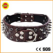 Cheap wholesale spiked real leather dog collar