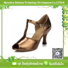 2012 leather sole dance shoes latin high quality shoes tan PU ballroom dancing shoes for women