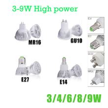 High Power 3W 4W 6W 8W 9W E27 E14 GU10 MR16 LED Spot Light 12V 85-265V Warm white&White