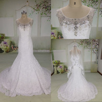 JM. Bridal MZY087 Real Pictures Ivory Round Neck Cap Sleeve Beaded Lace Mermaid Wedding Dresses Patterns with Veil