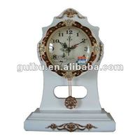 Table Clock With Solid Wood Walnut lacquered case with inlay GBD-1071H