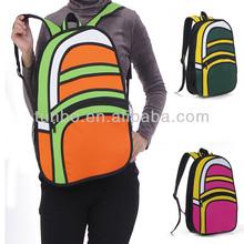 2014 teenage fashion 3D cartoon school bag backpacks with strap paper bag stock