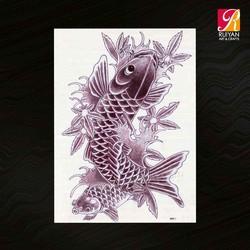 Large Temporary Tattoo Black And White Tattoo Design Tattoo Sticker The Goldfish MQB11