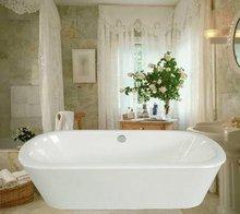 classic freestanding iron bath tub with steel skirt