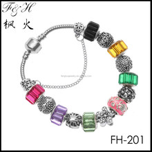 Yiwu bracelet jewelry wholesale rainbow color beads fit friendship bracelet, European style bracelet, charm bracelet